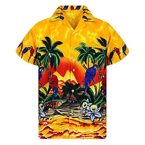 TAMALLU Herren Hemden Hawaii Bedruckte Modische Kurzarm Taschen Bluse(Gelb,L(L))