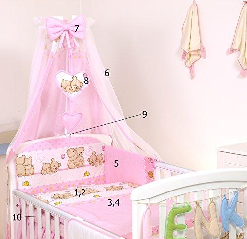10 Pcs juego de ropa de cama para cuna de bebé cama edredón, dosel + soporte (para cuna 120x60cm, #7 Rosa de peluche)