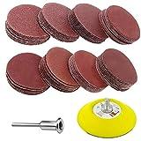 SunTop Dischi Di Carta, Dischi Abrasivi, 60 Pezzi Kit di Carta Abrasivi, diametro: 76 mm per levigatrice, grana da 10 × 100, 240, 600, 800, 1000, 2000