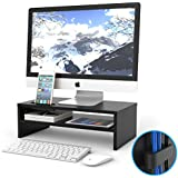 1home Wood Monitor Stand TV PC Laptop Computer Screen Riser Desk Storage 2 Tiers Black, W420 x D235 x H130mm (with Smartphone Holder and Cable Management)