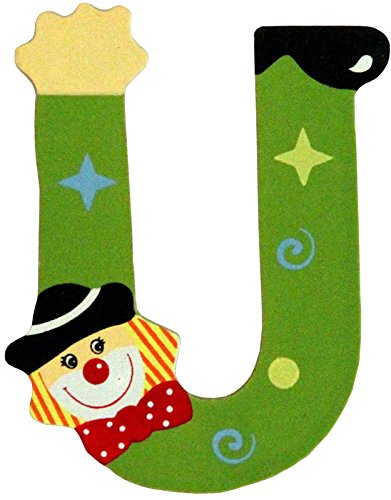 Holzbuchstaben und Zahlen- Clowns - mit Klebepad in zufälliger Farbe - Rimini Baustoffe® - Ideal für Türen und Schränke (Buchstabe U)
