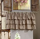 Mantovana Shabby Chic con balze Etoile Basic Collection 130 x 60 cm Colore Tortora