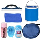 Kit de limpieza para el cuidado del automóvil, Kit de cuidado del automóvil completo portátil con bolsa de almacenamiento redonda Cubo de lavado del lavado del paño Mitt Wash Sponge Car Squeegee 7pcs Kit de lavado para el automóvil