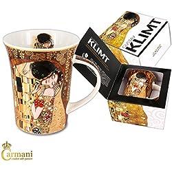 Carmani - Porcellana Tazza decorata con 'Il bacio' di Gustav Klimt 350ml