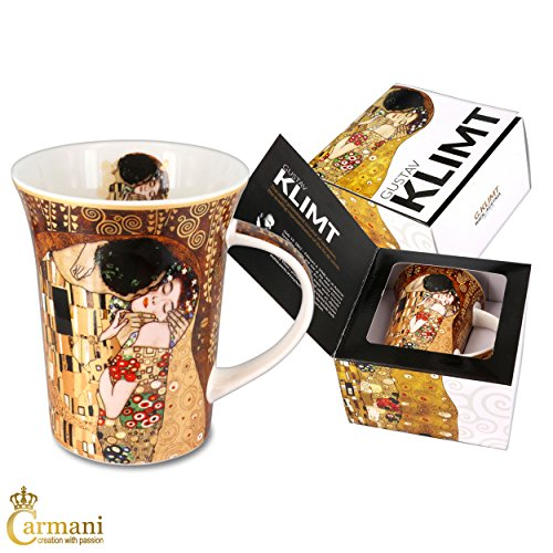 Carmani - Porcellana Tazza decorata con 'Il bacio' di Gustav Klimt 350ml