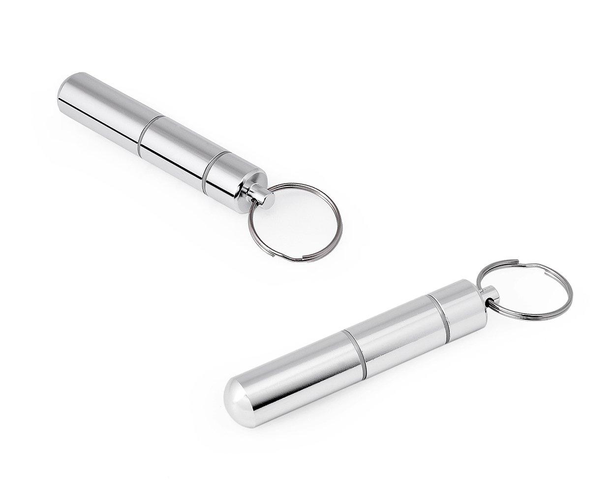 DSstyles portátil caja palillo de dientes soporte ligero tamaño de bolsillo de aleación de aluminio palillo de metal llavero–plata para regalo del día de padre