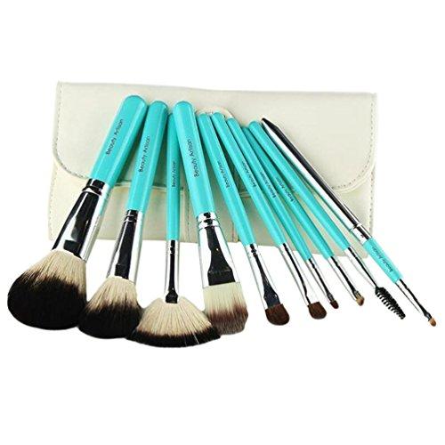 NiSeng Cosmétique Kit de Brosses Professionnel Naturel Pinceau de Maquillage 10 Pièce avec Sac Blanc