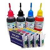 F-INK Compatible avec Epson T0715 ou T071, Cartouche d'encre Rechargeable et Encre de Bouteille 4x50ml pour T0711 Noir T0712 Cyan T0713 Magenta T0714 Jaune, avec puces Arc