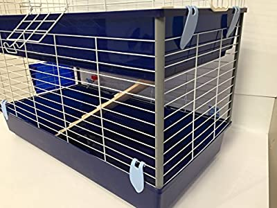 Large Double Indoor Rabbit Bunny Guinea Pig Cage 100 x 52 x 74 - Blue or Green by Global Pet