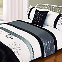 Just Contempo - Juego de funda nórdica (incluye fundas para almohadas, pie de cama y funda para cojín), diseño de flores bordadas, color blanco y azul, poliéster, gris/negro con flores, juego de cama doble King size