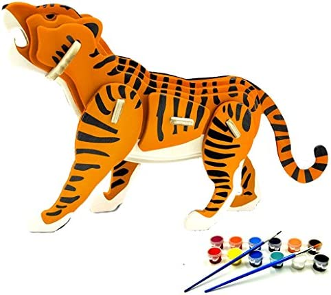 TIGER 3D Wooden Puzzle for kids and adult,DIY Wooden Jigsaw Puzzle Handmade Paint Toy or Hobby Decorative Animal Model Gift | Bonne Conception Qualité