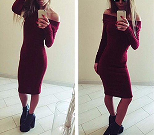 QIYUN.Z Damen Cocktail Kleider Party Abendkleid Longarm Herbst/Winter Kleid Rotwein