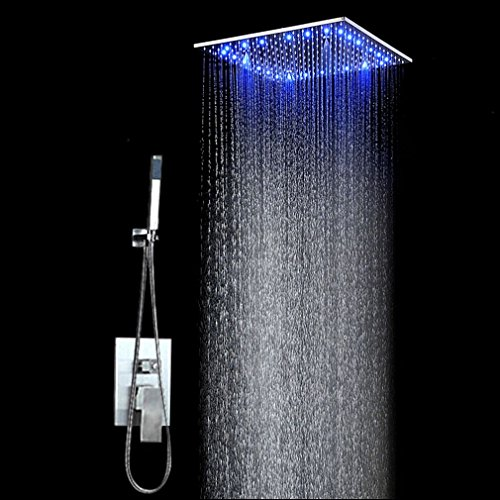 KAIBOR 300 * 300mm RGB Regendusche Deckenbrause Unterputzarmatur Farbewelchseln nach Wassertemperatur Brausegarnitur Duschset = Regendusche(30cm*30cm)+Handbrause (150CM) von STEO