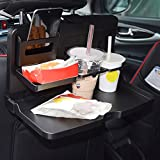 #9: Rrimin Universal Black Car Food Tray, Folding Dining Table Drink Holder, Car Pallet Back Seat Water Car Cup Holder of ABS