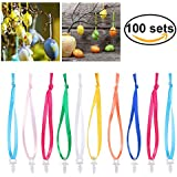 BESTOMZ 100 Stück Aufhänger für Ostereier Kugelaufhänger mit 100 Stück 18cm farbige Bänder