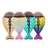 NEEDOON Make Up Pinsel 4 Stücke 3D Kosmetik Foundation Pulver Meerjungfrau Pulver Blending Blush Rund Bürste Schönheit Tool