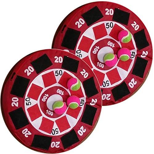 Land-Haus-Shop 2 Stück Ball Wurfscheibe aufblasbar Wurfspiel Soft Zielscheibe Dartscheibe 38cm mit Klettband Dart Wurf Spiel Klett Scheibe mit je 3 Mini Tennis Bälle
