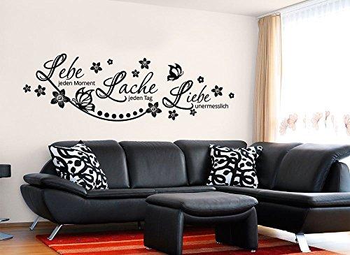 Grandora W870 Wandtattoo Spruch Lebe Lache Liebe I schwarz 120 x 46 cm I Wohnzimmer Schmetterlinge Blumen Aufkleber Wandaufkleber Wandsticker