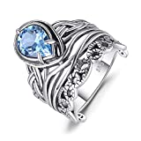 JewelryPalace Anillo Retro 6.2ct Genuino Topacio Azul Cielo Hueco Carved Plata de ley 925 Tamaño 11