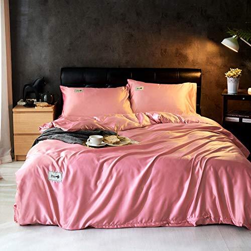 FJXJLKQS 4 Stück Satin Seidenblume Bettwäsche-Sets King-Size-Bettbezug Spannbetttuch Kissenbezüge Set Von,Pink-Superking:220x240 -