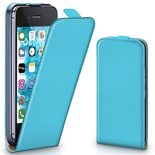 iPhone 4S Hülle Schwarz [OneFlow 360° Klapp-Hülle] Etui thin Handytasche Dünn Handyhülle für iPhone 4/4S Case Flip Cover Schutzhülle Kunst-Leder Tasche AQUA-CYAN