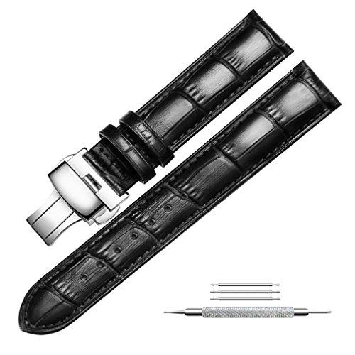 Uhrenarmband Echtem Leder Armband Ersatz Druckknopf Butterfly Deployant Verschluss Uhrenarmbänder für Herren und Damen, Fit für Traditionelle Uhren, Business Uhren und Smart Uhren 20mm Schwarz