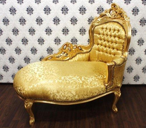 Casa Padrino Barock Kinder Chaiselongue Gold/Gold Muster - Recamiere Barock Möbel