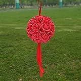 Opus Blumenkugeln für Hochzeit, Kunstblumen, romantische Rosen, für Zuhause, Outdoor, Hochzeit, Party, Dekoration, Schaumstoff, Passionate Red, 14 cm