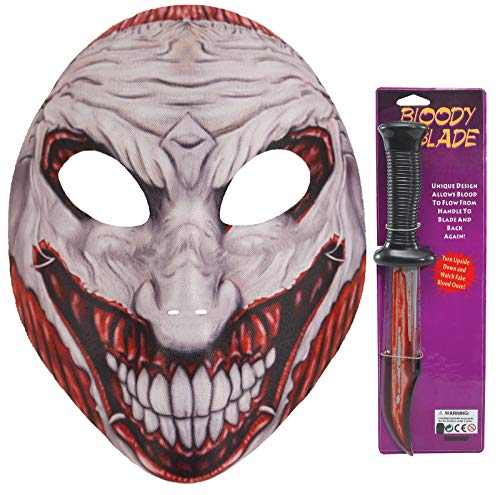 Scream Mit Kostüm Messer - labreeze Erwachsene Joker Gruselmaske blutiges Schrei Messer Halloween Kostümparty 2 Stück Set