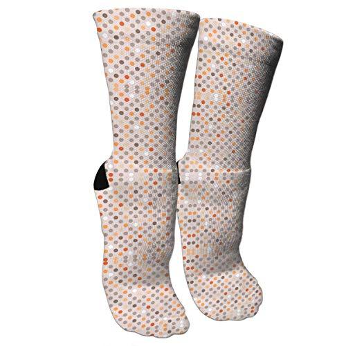 ouyjian Unisex Colorful Patterned Socks Compression Socks for Cat Polkadot Orange Crew Socks -