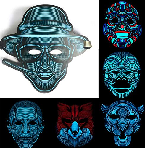 ZuoLan LED Mask Sound Reactive Activated Maske Steet Dance Party Club Cosplay Halloween Masks Masquerade (Style 5)