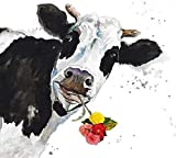 Rahmen-Kunst Barella-Immagine - Patricia Pinto: Crazy Cow Immagine Tela Mucca Fiori Testa Divertente Animali - 65x65 cm