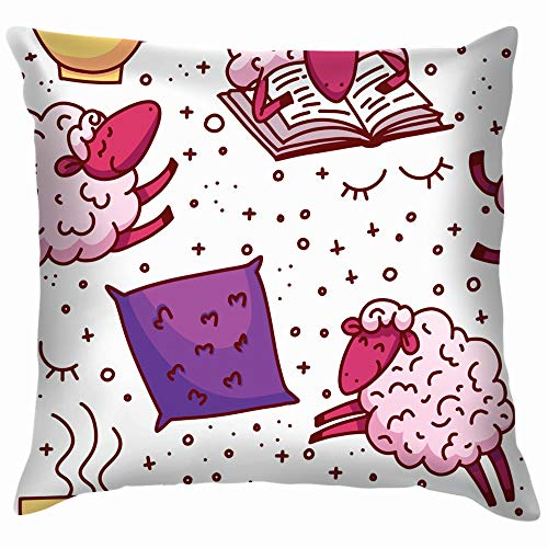 Cute Sheeps Concept Trying Alarm Clock Healthcare Medical Throw Pillows Covers Accent Home Sofa Cushion Cover Pillowcase Gift Decorative 18X18 Inch
