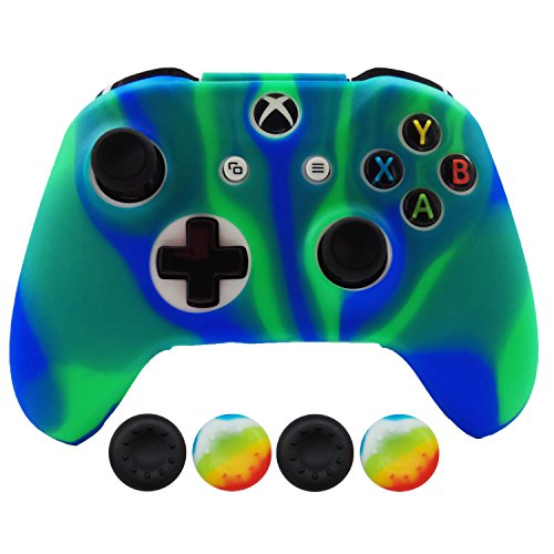 Hikfly Silicona Controlador Cubrir Piel Protector Caso Placas Frontales Kits con 4pcs Thumb Grips Kit para Xbox One Slim / S Controller(Azulverde)