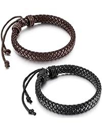 MunkiMix Cuero Pulsera Brazalete Cuerda Negro Marrón Tablista Envolver Wrap Encajar7~9 Pulgada Hombre,Mujer