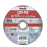 kwb CUT-FIX Trennscheiben Sparpack –125 x 1,2 Flexscheiben-Set für Winkelschleifer, 10-teilig