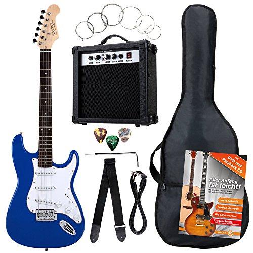 Rocktile Banger\'s Pack Komplettset E-Gitarre Blau (Verstärker, Tremolo, Tasche, Kabel, Gurt, Plecs, Ersatzsaiten und Schule mit CD/DVD)