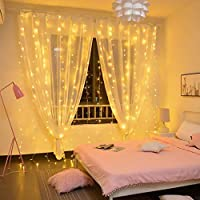 Twinkle Star 300 LED Birthday Party Decoration Curtain String Light Wedding Party Home Garden Bedroom Outdoor Indoor Wall Decorations, Warm White