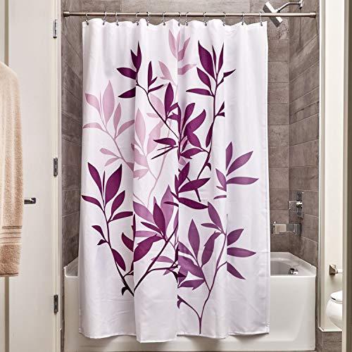 iDesign Leaves Duschvorhang | Designer Duschvorhang in der Größe 183,0 cm x 183,0 cm | schickes Duschvorhang Motiv mit Blättern | Polyester violett - Lila Duschvorhang