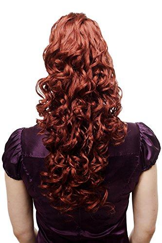 WIG ME UP ® - N310-350 Extension volumineuse ondulée queue de cheval/natte, bouclée, très longue, env. 60 cm, roux