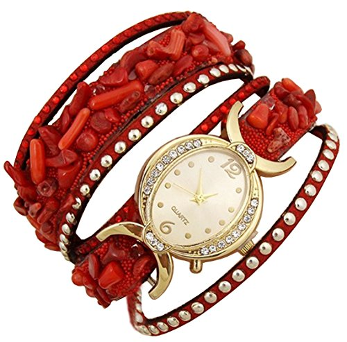 Aelo Red Bracelet Analogue Gold Dial Women's Watch - Www1049