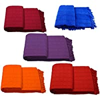 Colcha Multiuso 230x260 tejido rústico y colores lisos para cama, sofa, mesa.... (Violeta)