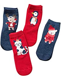 Navidad Calcetines de Algodón 4 Pares - Unisex Calcetines Antideslizantes para Bebés Niños Niñas 1-12 Años