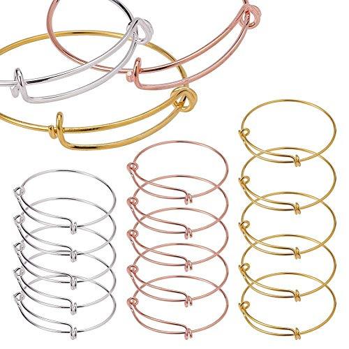 BENECREAT 15 Teile/satz Einstellbare Draht Blank Armband Erweiterbar Armreif f¨¹r DIY Schmuckherstellung, Silber & Golden & Rose Gold