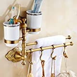 DEED Regal-Thick Kupfer Rotierenden Handtuchhalter Rack Single Double Rod Multi-Bar mit Haken Antike Handtuchhalter Bad Hardware Wandbehang Pole,# 7