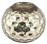 Large Distressed Antiqued Silver Coloured Glass Tea Light Holder