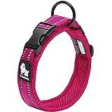 Da Jia Inc Einstellbare 3M reflektierende Hundehalsband Nylon Haustier Kragen einfaches Schnallen-Design atmungsaktives Mesh hund Halsband für kleine/mittelgroße Hunde (Pink, XXXL)