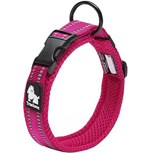 Da Jia Inc Einstellbare 3M reflektierende Hundehalsband Nylon Haustier Kragen einfaches Schnallen-Design atmungsaktives Mesh hund Halsband für kleine/mittelgroße Hunde (Pink, M) (Haustier-kragen)