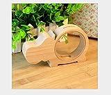 Imixcity Holz Tiere-Form Spardose Sparschwein für Kinder Nilpferd