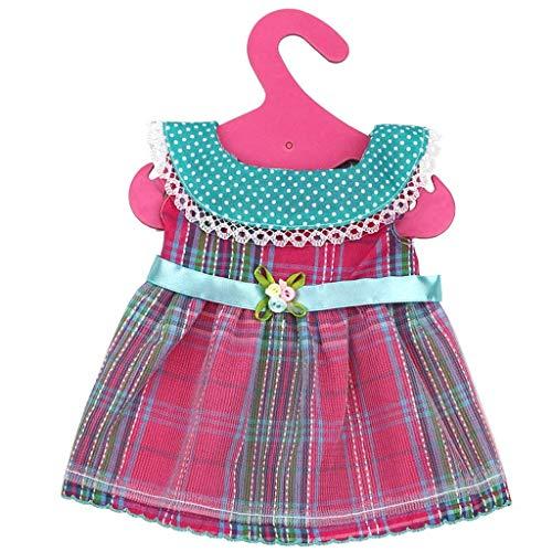 Naisicatar 18 Zoll Puppenkleidung Sommer-Kleidung Kleider Kausale Verschleiß Rose Plaid-Kleid für 18 Zoll American Girl Dolls Amusant Spielzeug - Girl American Strand Puppe Kleidung